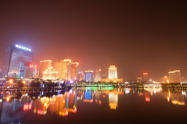 modern city at night, Nanning, China